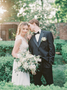 bride and groom bathed in beautiful light