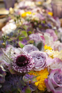 Purple centerpiece flowers