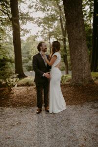 wedding couple embracing
