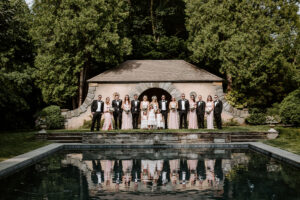 Wedding Party and a reflecting pool