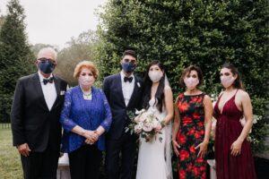masked wedding party